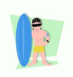 funny little kids being surfer ready to surf vector image vector image