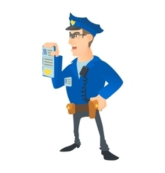 Policeman with order icon cartoon style vector