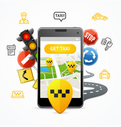 taxi services concept mobile phone app vector image vector image
