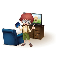 A boy holding a book standing near the blue couch vector image vector image