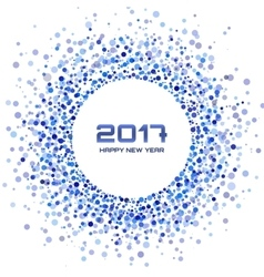 Blue confetti Circle Frame New Year 2017 vector image