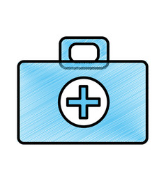 Blue medical aid kit emergency care vector
