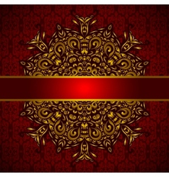 Golden medallion red card vector image vector image