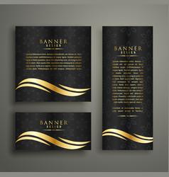 Premium luxury golden banner template design vector