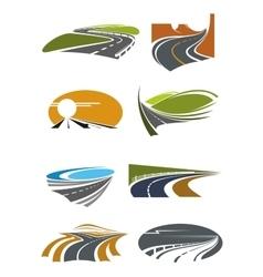Road landscapes symbols for transportation design vector image