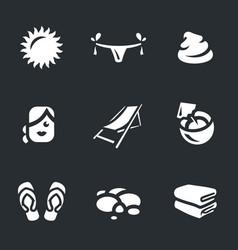 Set of beach icons vector