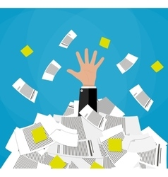 businessman in pile of documents vector image vector image