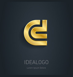 C and d initial gold logo metallic 3d icon or vector