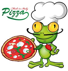 chef frog cartoon with pizza vector image vector image