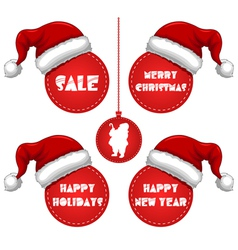 Christmas New Year and Holidays Sale Tag with Cap vector image vector image