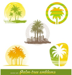 palm tree emblems labels vector image vector image