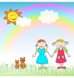 The children two girls cats and rainbow vector image