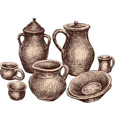 A collection of the different earthenware vector
