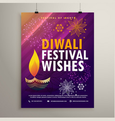 Amazing diwali flyer template with diya and vector