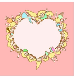angels around heart vector image