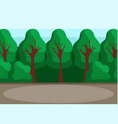 Back yard with high trees park glade or backyard vector