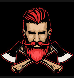 bearded hipster lumberjack head with crossed axes vector image
