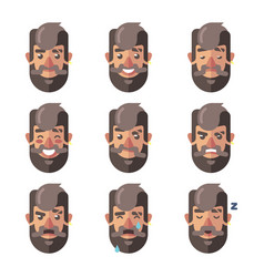 Bearded hipster man facial expressions emotions vector