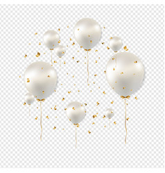 birthday card with white balloons transparent vector image