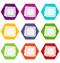 biscuit icon set color hexahedron vector image