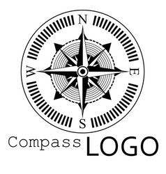 Black and white compass logo icon rose of vector