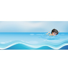 Boy swimming alone in the pool vector