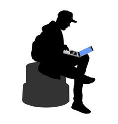 Boy work on laptop silhouette outdoor it activity vector