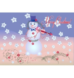 Card Snowman the Violinist vector