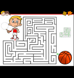 Cartoon maze activity with boy and basketball vector