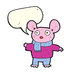 Cartoon mouse in clothes with speech bubble vector