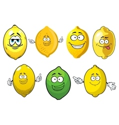 Cartoon ripe lemons and lime fruits vector