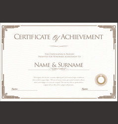 Certificate or diploma retro design template 2 vector