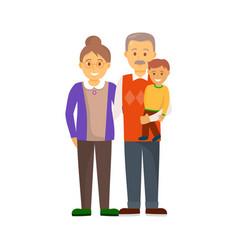 Cheerful hugging family in full length vector