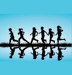 children silhouettes running outdoor vector image
