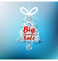 Christmas Tree made from snowflakes with Big Sale vector image