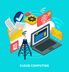 cloud computing isometric design concept vector image