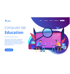 Computer lab education landing page vector