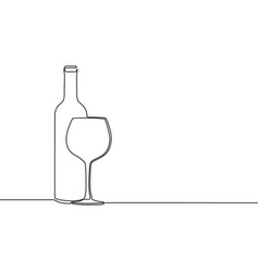 Continuous one line winebottle with wineglass vector