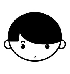 Contour child boy face with hairstyle design vector