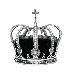 Crown hand drawing vintage style vector