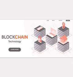 cryptocurrency and blockchain isometric concept vector image
