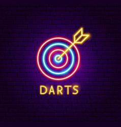 darts neon label vector image