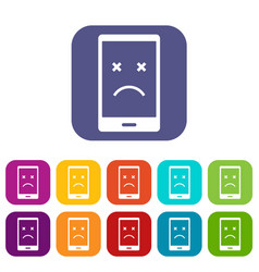 dead phone icons set flat vector image