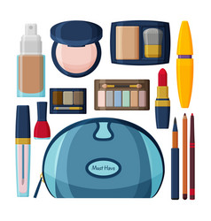 decorative cosmetics for lips eyes and nails vector image