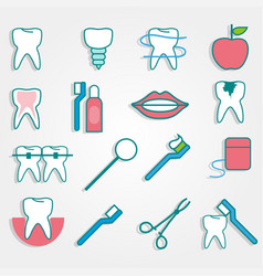dental supplies in flat style on gray background vector image