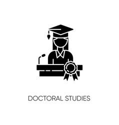 Doctoral studies black glyph icon vector
