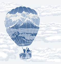 double exposure balloon with travelers vector image