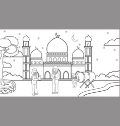during corona pandemic muslim in mosque vector image