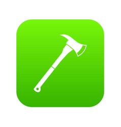 firefighter axe icon digital green vector image