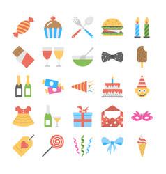 Flat icon set birthday vector